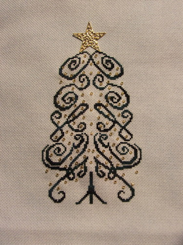 Kelso Christmas Tree Stitching and Beading completed