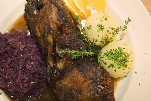 Roasted duck w/ honey & thyme sauce