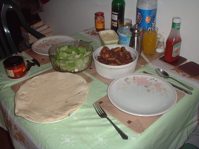 table set for around the world in 80 meatballs