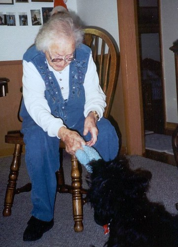 Nannie playing with a dog