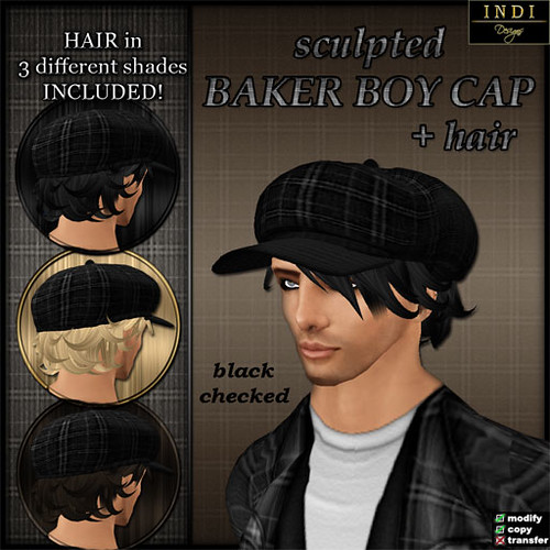 Baker Boy Cap - black checked