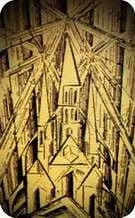 Lyonel Feininger. La catedral. Portada para el manifiesto de la Bauhaus estatal. 1919.