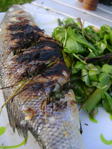 Sea Bass with Asparagus and Rocket Salad