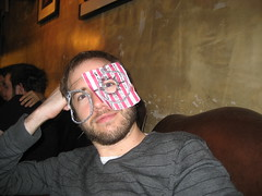 Paul with some spectacles he made, Craft Night, Notting Hill Arts Club