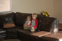 Drew and Selah Watching TV Together