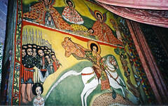 Christian mural painting at island monestary, Lake Tana, Ethiopia
