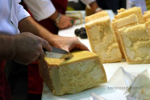 Scoring pieces of Parmigiano Reggiano at Salone del Gusto in Turin