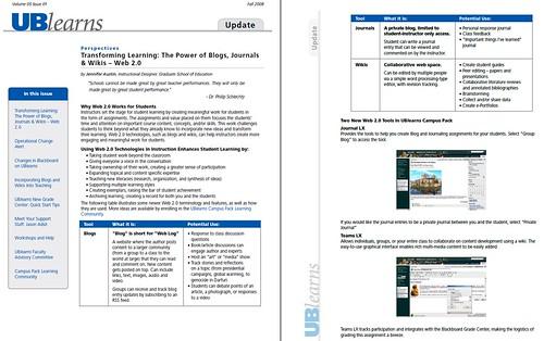 UBearns Update Newsletter (Fall 2008)