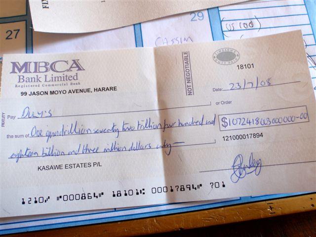 Zimbabwean cheque