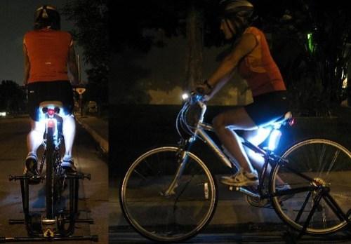 Rear illuminated cyclist