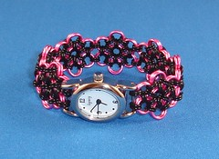 Pink Daisy Chain Maille Watchband and Watch Face