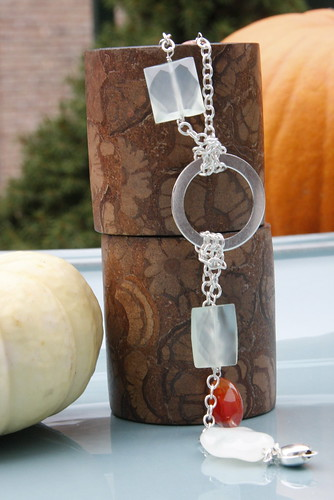 Sterling Silver, Red Lined Agate, Chalcedony and Serpentine Double Chained and Knotted Bracelet