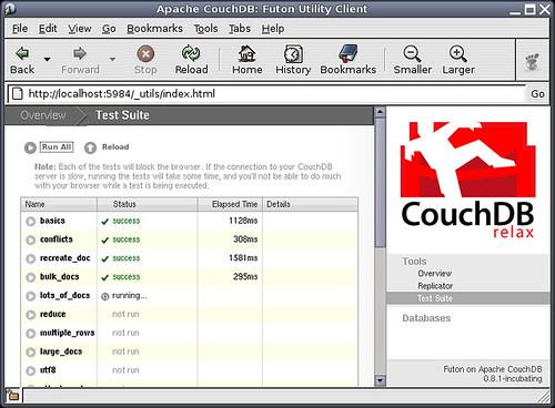 CouchDB running its tests