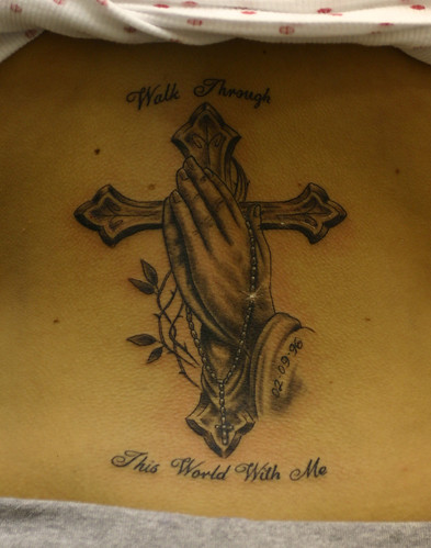 Praying-hands-cross-and-rosary-beads-tattoo by The Tattoo