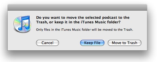 iTunes dialog asking to keep the file or move it to the trash