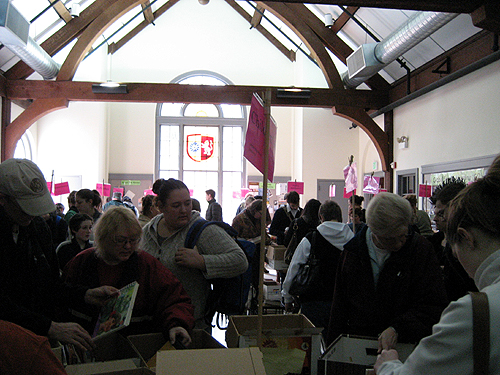 Frenzied rummage sale: book shoppers