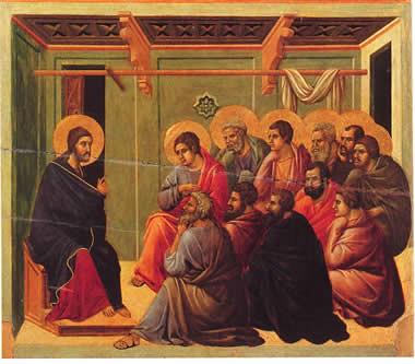 Duccio di Buoninsegna (1255-1318), Gesù parla agli Apostoli, Museo dell'Opera del Duomo, Siena.
