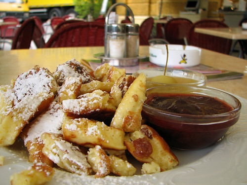 Shredded pancake with plum sauce and apple puree by you.