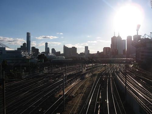 Melbourne skyline over Flinders St. train tracks