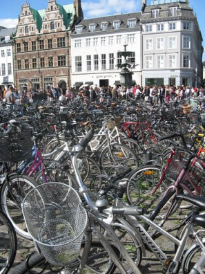 Bikes on Strøget, one of Copenhagens longest pedestrian streets.