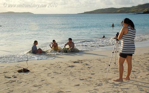 Taking photos of friends, Calaguas Island, Camarines Norte