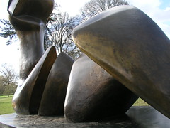 Two Piece Reclining Figure: Cut, 1979-81,  by Henry Moore at Kew Gardens