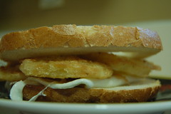 fried tomato and egg sandwich
