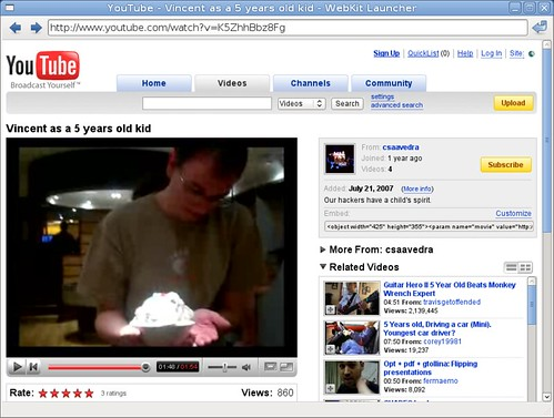 YouTube video in WebKit GTK