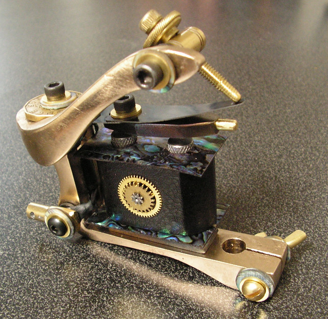 Bronze and Abalone Tattoo Machine. Hand made, one of a kind, not for sale.