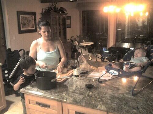 Mason helps prep dinner while Jude naps