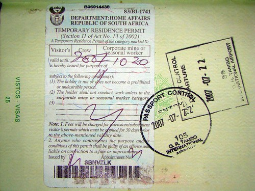 South Africa: stamps and temporary residence p...