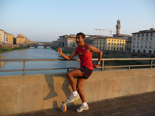 Running in front of the Ponte Vecchio in Florence
