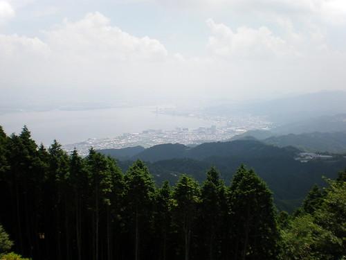 View of Otsu and Lake Biwa from Mt. Hiei, Kyoto, Japan