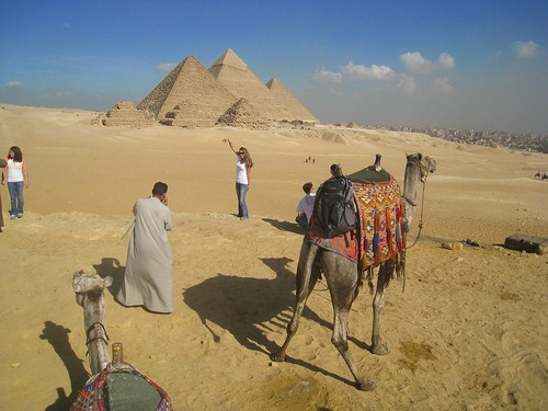 a girl poses while her camel takes a piss