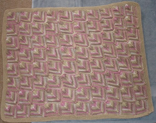 Small mitered Square Baby Coverlet