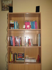 filled bookshelf