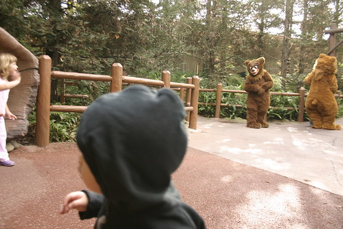 Emmett getting intimidated by two large bears (I think this movie was called Brother Bear)