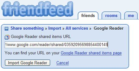 Friendfeed - Google Reader Added