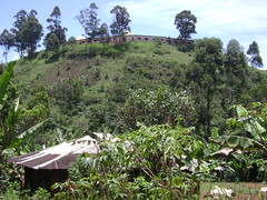 Fongo-Ndeng has a good school. The kids hike up this mountain to reach it every day. See it at the top?