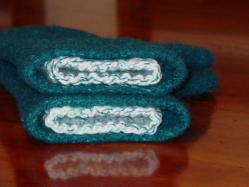 Inside view of felted mittens