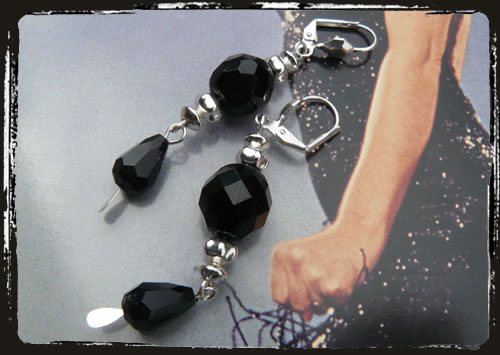 Orecchini neri - Black earrings MEHDNSP