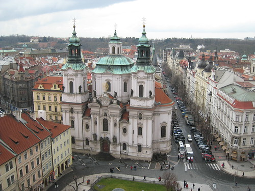 St Nicholas church in the Old Town Square, Prague, next to Paris Street
