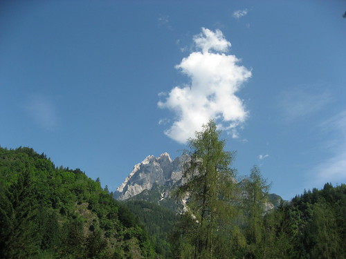 View from sunroof in Italian Alps