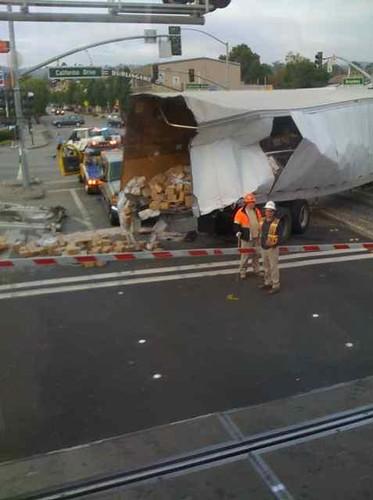 Train hits truck