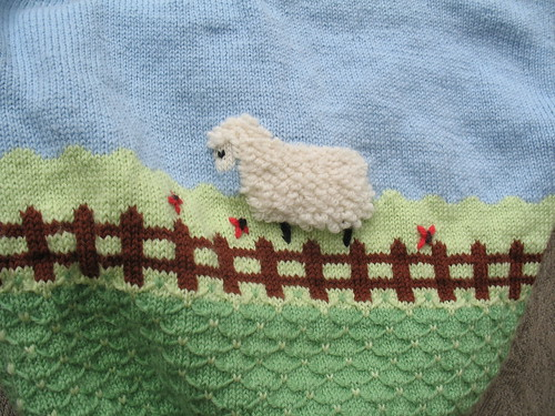 Up close sheep on Bub's Sweater
