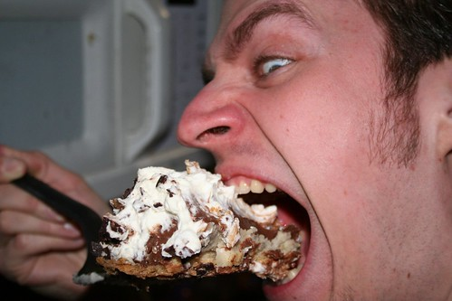 20070317 - Carolyn's birthday and St. Patrick's Day party - (by AE) - 425317397_ef685e8da1_o - Nate - eating amazing pie