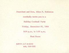 Invitation to a cocktail party in the Hunt Room, Dec. 27.