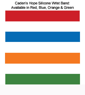 Color Choices for Caden White Silicone Wrist Bands