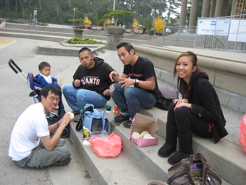 We found a stoop at the amphitheater in Golden Gate Park right in front of the Academy.  Yum!