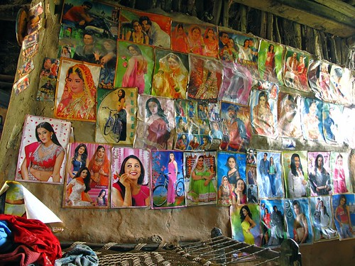 Posters like these Indian beauties decorate many roadside lunch-spots.